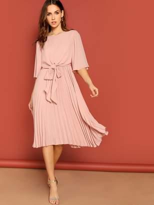 Shein Tie Front Zip Back Pleated Dress