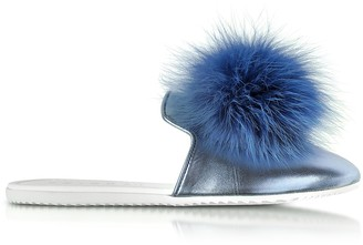 Joshua Sanders Blue Laminated Leather Pom Pom Mule