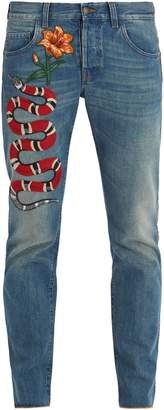Gucci Snake and flower-embroidered tapered-leg jeans