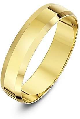 Theia Unisex 9ct White Gold Heavy Flat Shape Bevelled Edge Polished 6mm Wedding Ring - Size O
