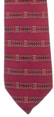 Hermes Chain-Link Belt Print Silk Tie