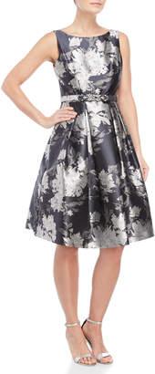 Eliza J Jacquard Floral A-Line Dress