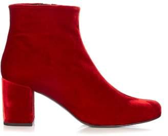 Saint Laurent Babies block-heel velvet ankle boots