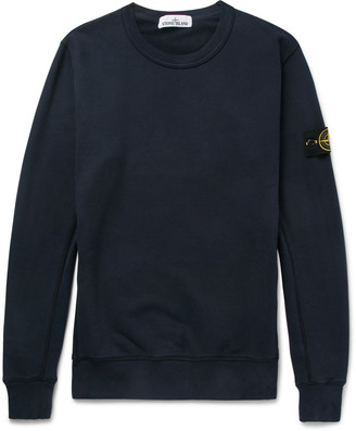 Stone Island Slim-Fit Fleece-Back Cotton-Jersey Sweatshirt $190 thestylecure.com