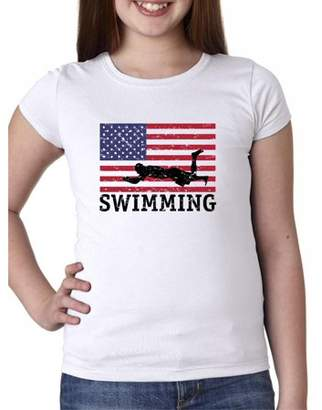 Hollywood Thread USA Olympic - Swimming - Vintage Flag - Silhouette Girl's Cotton Youth T-Shirt