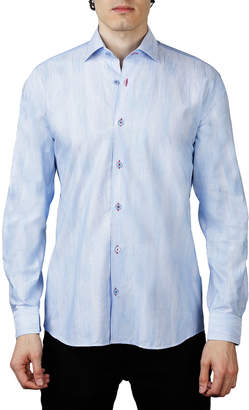 Maceoo Shaped-Fit Linear-Jacquard Sport Shirt