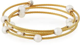 Alor Cable Wrap Bangle w/ Freshwater Pearls, Yellow