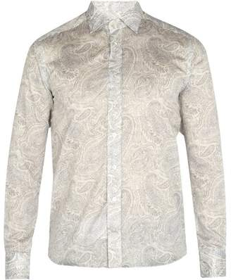 Etro - Paisley Print Cotton Shirt - Mens - Black White