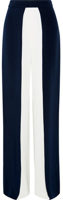 Cushnie et Ochs - Two-tone Silk-crepe Wide-leg Pants - Navy $1,095 thestylecure.com