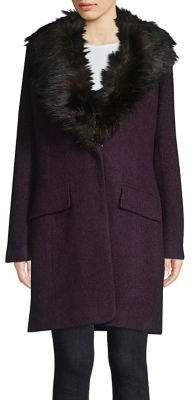Badgley Mischka Belle Wool-Blend Faux Fur Collar Walker Coat