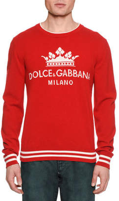 Dolce & Gabbana Men's Crown Graphic Cashmere Sweater