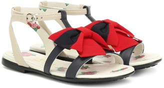 Gucci Kids Web Bow leather sandals