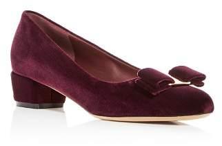 Salvatore Ferragamo Women's Vara Velvet Low Heel Pumps