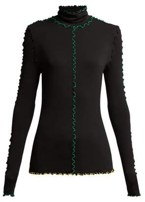 Proenza Schouler Fine Turtle Neck Top With Colour Block Seam Detail - Womens - Black Green
