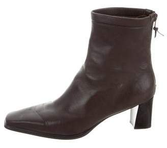 Stuart Weitzman Leather Square-Toe Ankle Boots