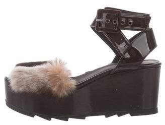 Caytaner Belina Fur-Trimmed Wedge Sandals