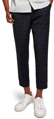 Topman Slim Fit Grid Check Crop Pants
