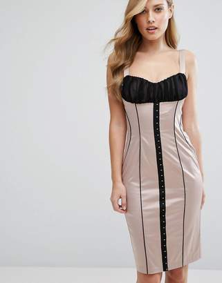 Elise Ryan Satin Pencil Dress With Hook & Eye Corset Detail