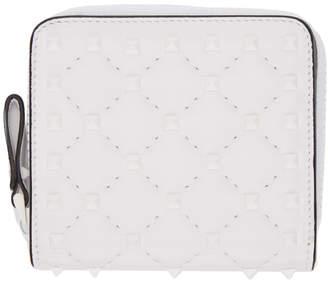 Valentino White Garavani Rockstud Spike French Wallet
