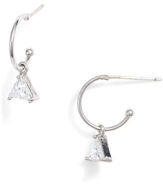 Melinda Maria Leila Triangle Crystal Hoop Earrings