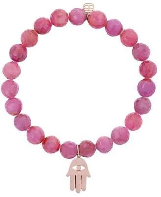 Sydney Evan 14kt gold and ruby beaded bracelet with hamsa hand charm