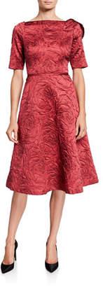 Rickie Freeman For Teri Jon High-Neck Elbow-Sleeve Jacquard A-Line Dress