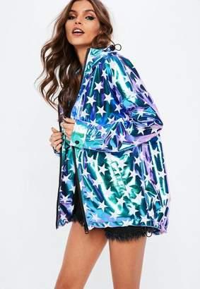 Missguided Blue Star Metallic Rain Mac Jacket