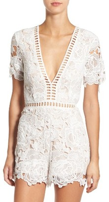 Women's Missguided Ladder Inset Lace Romper $93 thestylecure.com
