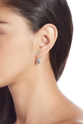 Freida Rothman Two-Tone Rhodium Plated Industrial Finish CZ Pave Ear Jacket Earrings