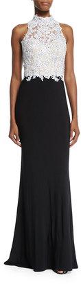 La Femme Beaded Sleeveless Mock-Neck Combo Gown, Black/White $239 thestylecure.com