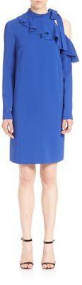 Emilio PucciEmilio Pucci Stretch Cady Cold-Shoulder Ruffle Dress