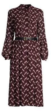MICHAEL Michael Kors Belted Chevron-Print Dress