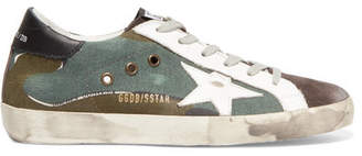 Golden Goose Superstar Distressed Printed Canvas, Leather And Suede Sneakers - Army green