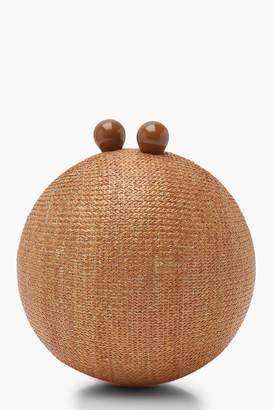 boohoo Straw Sphere Clutch Bag