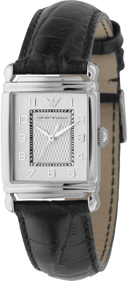 Emporio Armani Watch, Women's Black Leather Strap AR0434