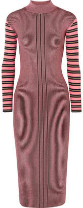 McQ Striped Ribbed-knit Turtleneck Dress - Fuchsia