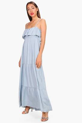 boohoo Michi Ruffle Tiered Denim Maxi Dress