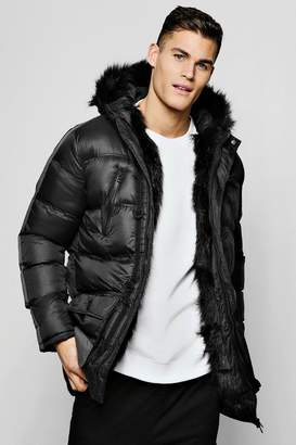 boohoo Parka With Faux Fur Lining And Hood