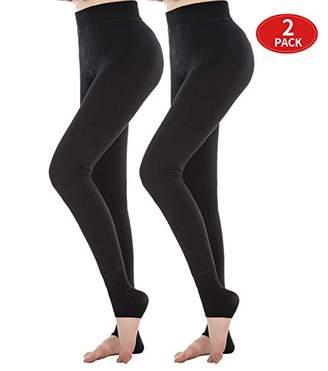 Diravo Womens Fleece Lined Leggings Thick Basic Soft Elestic Leggings 2 Pack