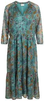 Vila 14055039 Floral Vimilosfoxglove Oil Blue/ Gold Lurex Midi Dress 135375 - xsmall
