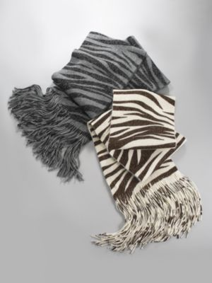 Metallic Zebra Knit Scarf