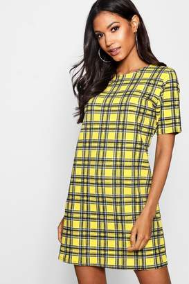boohoo Tartan Check Short Sleeved Shift Dress