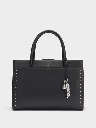 DKNY Leather Studded Shopper Satchel With Charm