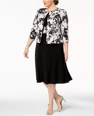 Jessica Howard Plus Size Printed Metallic-Detail A-Line Dress & Jacket