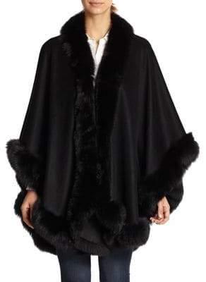 Sofia Cashmere Short Cashmere& Fox Fur Cape