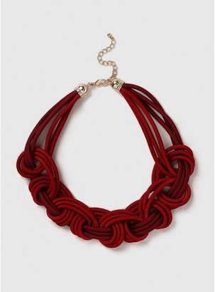 Evans Red Cord Plait Necklace