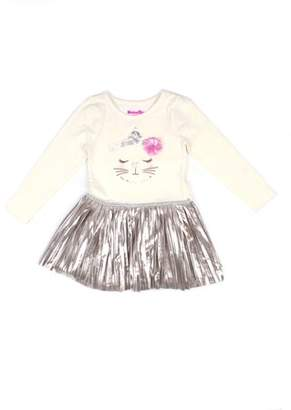 Nannette Embellished Cat Graphic Top and Metallic Pleated Dress (Little Girls)