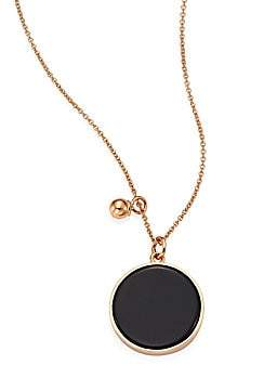 ginette_ny Women's Ever Onyx & 18K Rose Gold Round Pendant Necklace