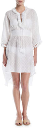 Talitha Collection Tassel-Tie Long-Sleeve Cutwork Cotton-Silk Caftan Dress Coverup