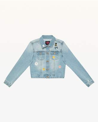 Juicy Couture Floral Embroidered Denim Jacket for Girls